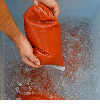 ice bath for food, cook chill, ready made soup packaging