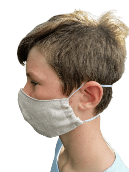 Washable​ Linen Face Mask - Demonstration - Side View
